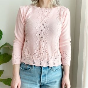 Vtg Knit Pink Seeater Acrylic Cropped Size M